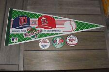 Minnesota Twins 1987 World Series Champions Pennant & PM10 Pins (3) - Cardinals