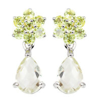 100% NATURAL 10X8MM GREEN AMETHYST & PERIDOT RARE STERLING SILVER 925 EARRING
