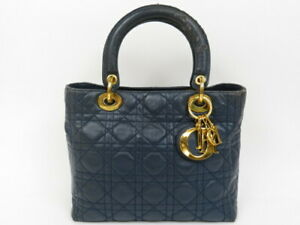Authentic Christian Dior Lady Dior handbag leather navy Italy popular r10202