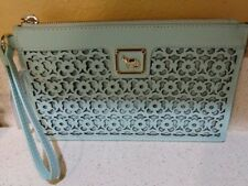 EMMA FOX Mint Green Leather Clutch Purse Forsyth Wristlet NEW