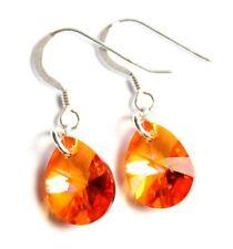 Silber 925 Ohrringe mit Swarovski® Kristallen Tropfen orange klein + süß Schmuck