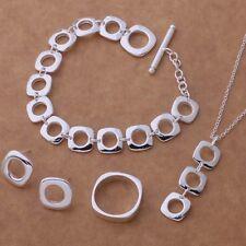 Pretty Beautiful Silver Bracelet Necklace Ring Earring Set jewelry wedding nice