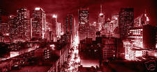 CANVAS WALL ART MAROON DARK RED NEW YORK CITY SCENE L