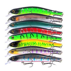 8PCS Fishing Lure Sinking Crankbait Wobblers Minnow Bass Saltwater 17.6g 12.5cm