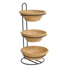 3 Tier Plastic Wicker Baskets Display Stand 12 W x 12.5 D x 24.75 H Inches