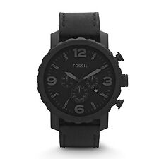 FOSSIL JR1354 Nate Chronograph Ion Plated All Black Leather 50mm Men's Watch