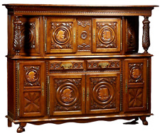Antique Sideboard, Breton, French Provincial Carved Oak Sideboard, 20th C.!