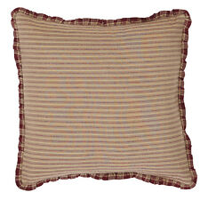 "PROVIDENCE ACCENT PILLOW 16X16"" W/ FILL DARK RED / KHAKI TICKING STRIPE"