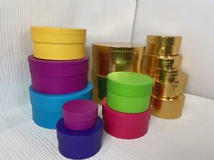 Round Boxes x 16 Stacking Storage Gold and Colourful Concept Bundle Job Lot M544