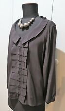 Immaculate Size 12 Basque Brown Silk/Elastane Blouse- 50cm Bust