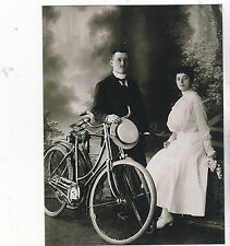 "*Postcard-""Couple Posing On Bicycle...w/Man Holding Ladies Hat   -Classic-(B521)"