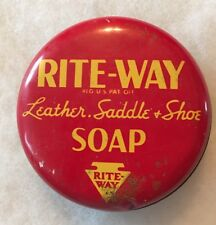 Rite-Way RITE WAY LEATHER SADDLE & SHOE SOAP Metal Tin (EMPTY) COLLECTORS