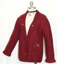 """BURGUNDY BOILED WOOL SWEATER Jacket Women German Winter Dress Suit 38 6 8 S B38"""""""