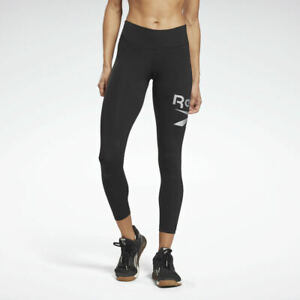 REEBOK Women's Identity Logo Leggings Black L Fitness Training Gym