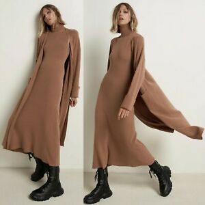 NEW Zara Long Maxi Open Front Sweater Knit Cuff Sleeves Cardigan Dusty Pink S