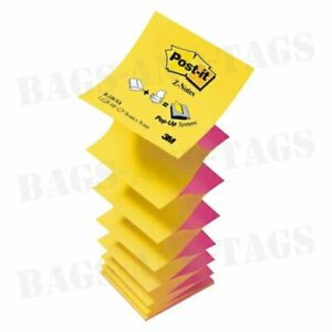 POST-IT 76 x 76mm Sticky Z-Notes Neon Pink And Yellow 100 Sheets Per Pad