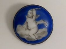 Antique Porcelain in Metal Button - En Grisaille Cupid in the Clouds, Cobalt
