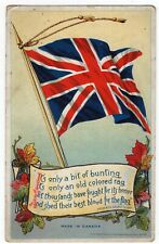Union Jack & Maple Leaves CANADA WWI Prudential Insurance Advertising Postcard