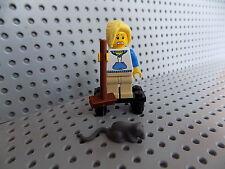 LEGO Custom Minifigure Woman Girl Female on Stool Broom Hiding from Rat