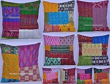 200 PC Wholesale LOT Indian Patchwork Kantha Work Silk Pillow Cushion Cover 16""