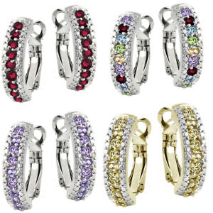 Pretty New White Gold Plated Silver Round CZ Pave Huggie Hoop Earrings