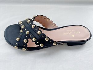 Kate Spade Black Leather Cross Strap Mules Slip Ons Size UK 2.5