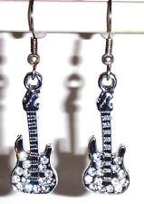 Ohrringe Gitarre Musik Silber Damen Ohrschmuck Modeschmuck Hänger Edelstahl