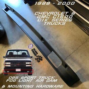 88-98 Chevy GMC CK OBS Bumper Valance Air Dam + Hardware SPORT FOG Light Hole SS