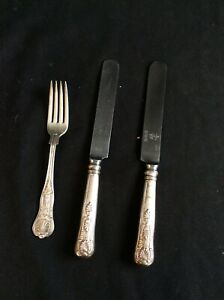 3 Piece Silver-plate Flatware US Navy Kings Pattern 1 Fork  2 Knives USN Anchor