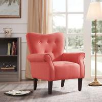 Modern Living Room Accent High Back Chair Cushion Seat Armrest w/ Wood Leg Brick