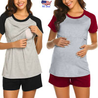 2PCS Women Maternity Short Sleeve Nursing Tops Shirt Blouse Sleepwear Pajama Set