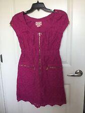 Phoebe Couture Purple Eyelet Lace Gold Zipper Dress Sz 6 EUC