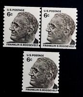 US Stamps, Scott #1305 VF/XF M/NH 1968 Joint Line Pair & single of FDR PO fresh