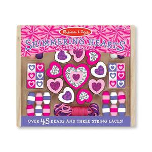 "Melissa & Doug 19495 Bead Set "" Shimmering Hearts "" Pink Wooden Box New! #"
