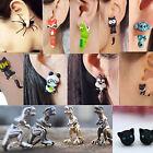 Novelty 3D Stereoscopic Animal Earrings Cat Fox Polymer Clay Club Earrings Studs