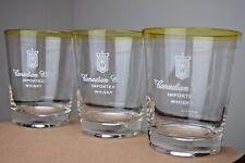 Vintage Barware Set of Three Canadian Club Imported Whisky Glasses Rocks