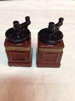 Vintage Ceramic Coffee Grinder Salt & Pepper Shakers