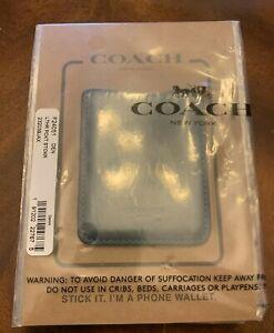 COACH Leather Phone Wallet ID Sticker Denim Navy License Credit Card Holder New