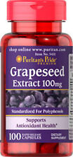 Puritan's Pride Grapeseed Extract 100mg 100 Caps Antioxidant Health Supplement