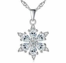 Snowflake Pendant 925 Sterling Silver Chain Necklace Womens Jewellery Xmas Gift