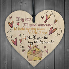 Will You Be My Bridesmaid Wooden Hanging Heart Wedding Invitation GIFTS Favours