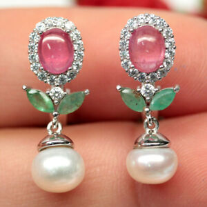 NATURAL PINK RUBY EMERALD PEARL & CZ EARRINGS 925 SILVER STERLING