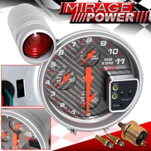 "For Audi 5"" 4IN1 11K RPM 5"" Carbon Oil Pressure Water/Oil Temp Tachometer Gauge"