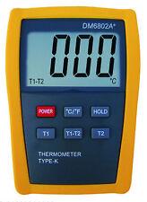 Scientific Digital Thermometer 2 K Type Temperature Sensor HVAC Tool C F 6802