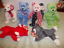 6) Orgnl Retired Ty Beanie Baby Kicks Spangle Holiday Teddy Nanook Snort America