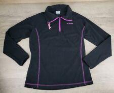 Columbia Womens Jacket Fleece Pink Ribbon Breast Cancer 1/4 Zip Sweatshirt Large