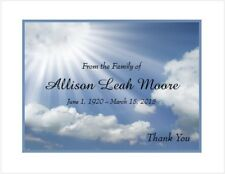 12 Sympathy Personalized Thank You Cards ~ Sun Rays and Clouds