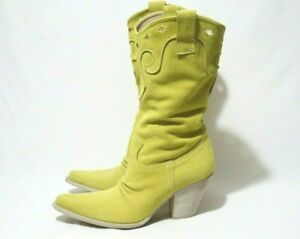 Made In Italy DIMOL1955 Size 7 Womens Leather Suede CowGirl Mid-Calf Boots