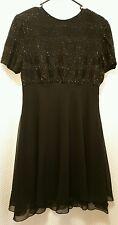 Laurence Kazar New York Black Beaded Chiffon Knee Length Dress Sz Large (L)