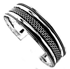 Sterling Silver Cuff Bangle Bracelet Etched Swirl Design 20.3 grams NEW